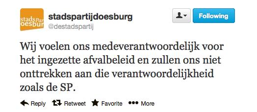 Twitterbericht Stadspartij