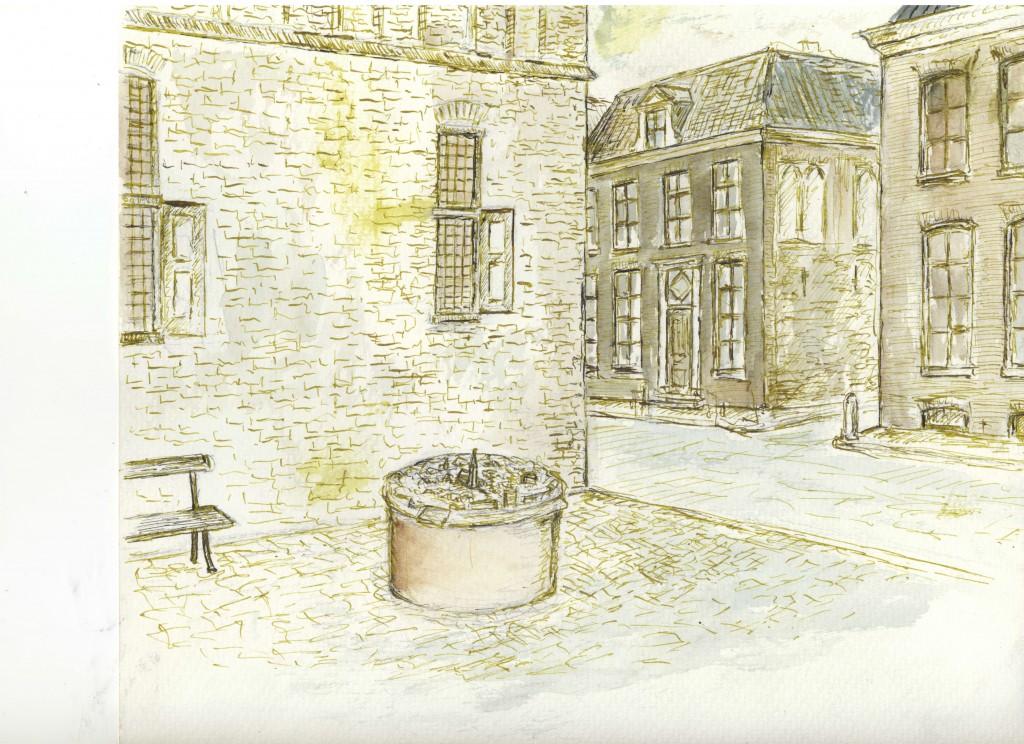 tekening stadsmaquette Doesburg op plein